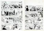 Planches originales à l'encre de Chine des pages 13 et 14 de « Simba Lee T2 : La Réserve de Karapata », publiées dans Spirou n° 1198 du 30 mars 1961.