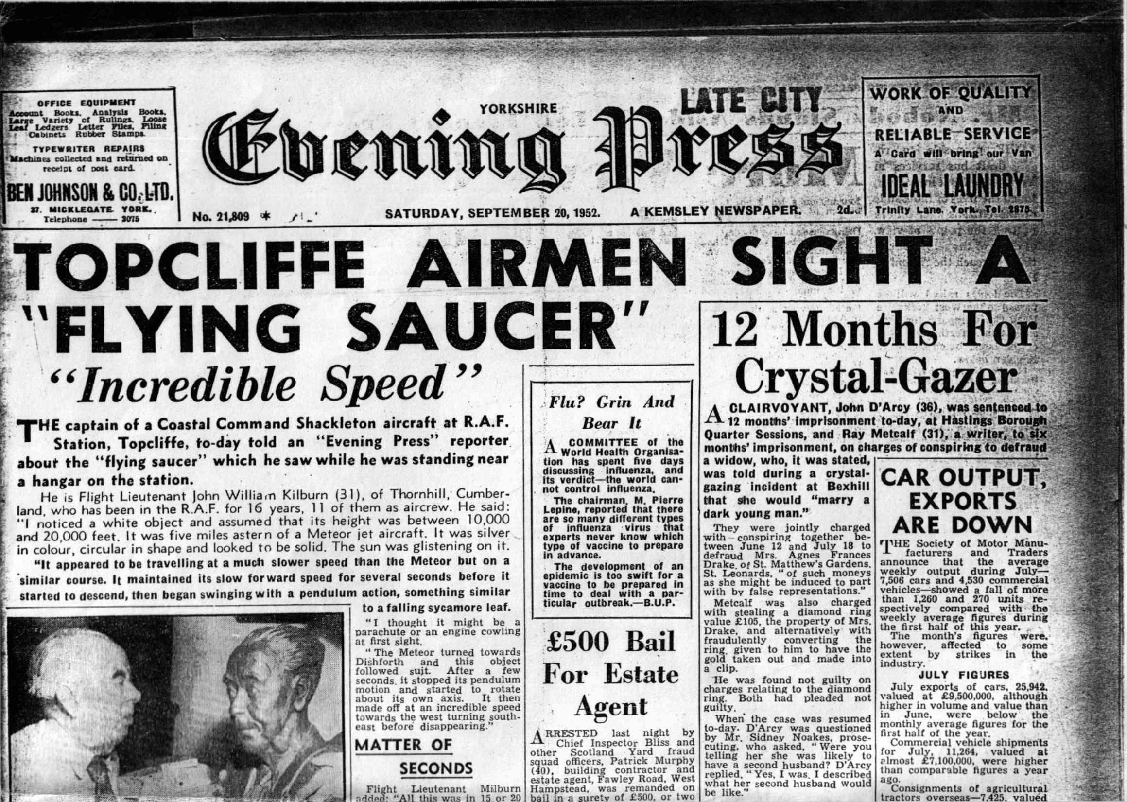 Une du Yorkshire Evening Press en septembre 1952