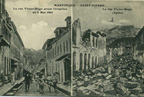 La rue Victor Hugo avant et après l'explosion.