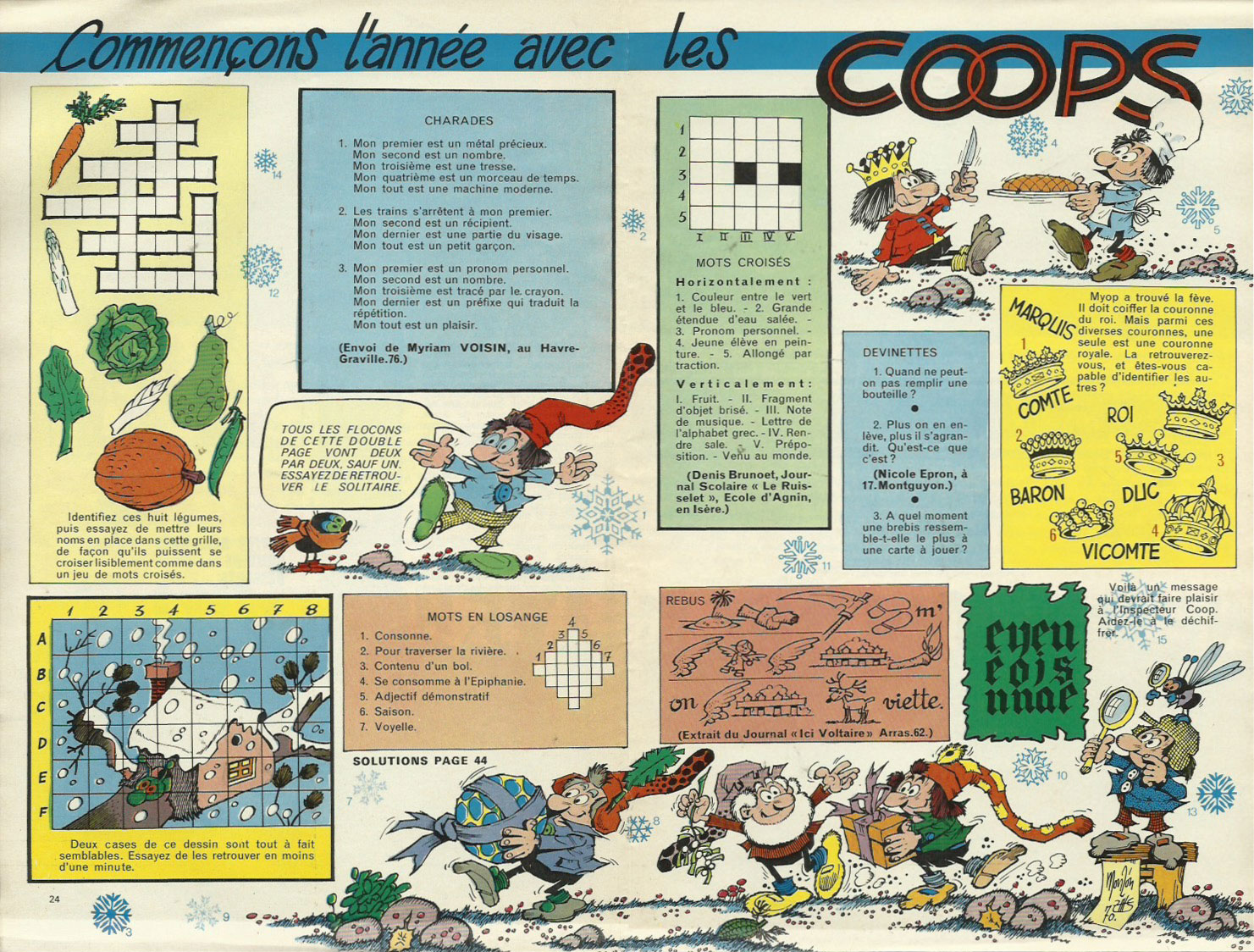 Jeux illustrés par Ramón Monzón, dans Amis-Coop.