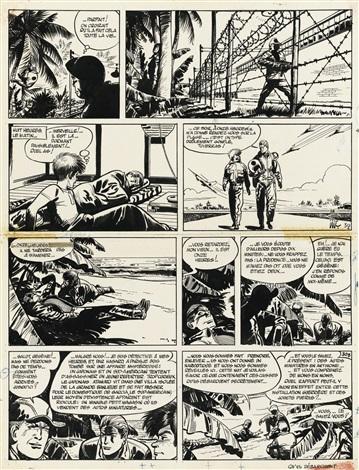 Une planche original de « Valhardi contre le soleil noir » par Jijé.