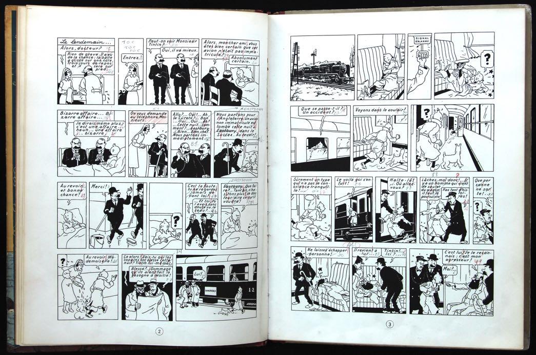 « Pages 2 et 3 annotées — exemplaire Hergé ».