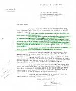 Courrier de Hergé à Lesne du 1er octobre 1943. Il demande à ce que les feuilles en noir soient reliées.