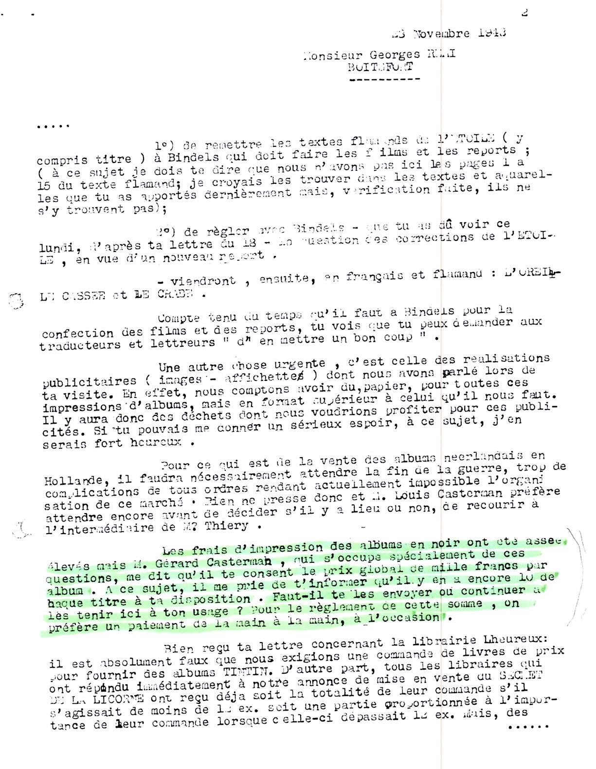 Réponse de Lesne du 30 novembre 1943 : le reste sera tenu à disposition à Tournai…