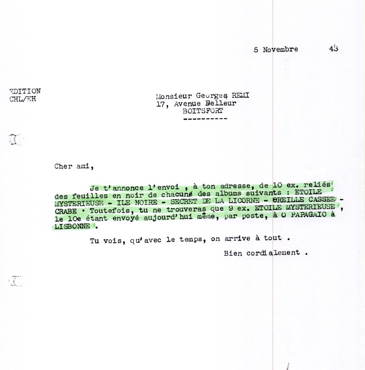 Courrier de Lesne à Hergé du 5 novembre 1943 annonçant l'envoi des albums en 10 ex. chacun.