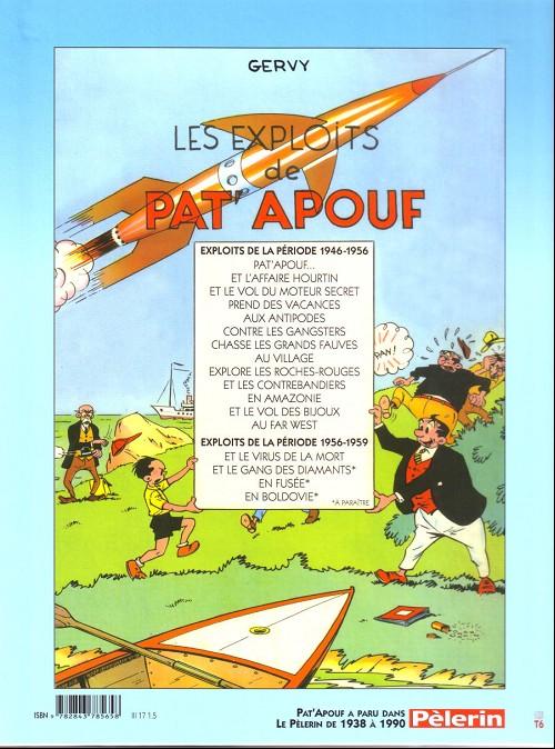Les albums disponibles au Triomphe au verso de « Pat'Apouf et le virus de la mort ».