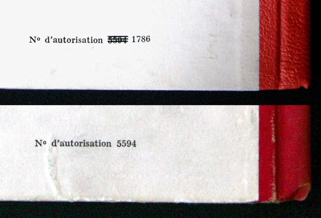 A21 numéro barré dos pegamoïd/A22 numéro non barré, dos pellior.