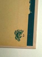 Tampon et stylo encre sur un des exemplaires neufs trouvés chez Casterman. D'après Étienne Pollet, un monogramme réalisé par Hergé gracieusement pour Casterman.