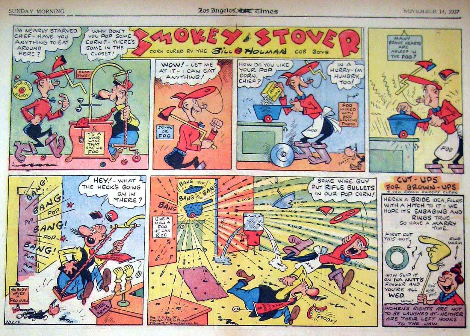 « Smokey Stover » en 1937, dans sa version d'origine aux États-Unis.