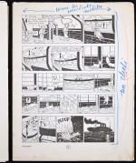 Annotations d'Hergé sur exemplaire n° 2. Crayon bleu et rouge. Grisés pour un rendu de nuit.