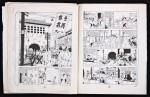 Les deux exemplaires annotés par Hergé en 1948 pour la publication en strips dans des journaux scandinaves. L'exemplaire n° 1 jette les bases du recadrage. L'exemplaire n° 2 met en place les grisés.