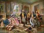 The Birth of Old Glory par Percy Moran (1917) : Betsy Ross coud le premier drapeau pour Washington