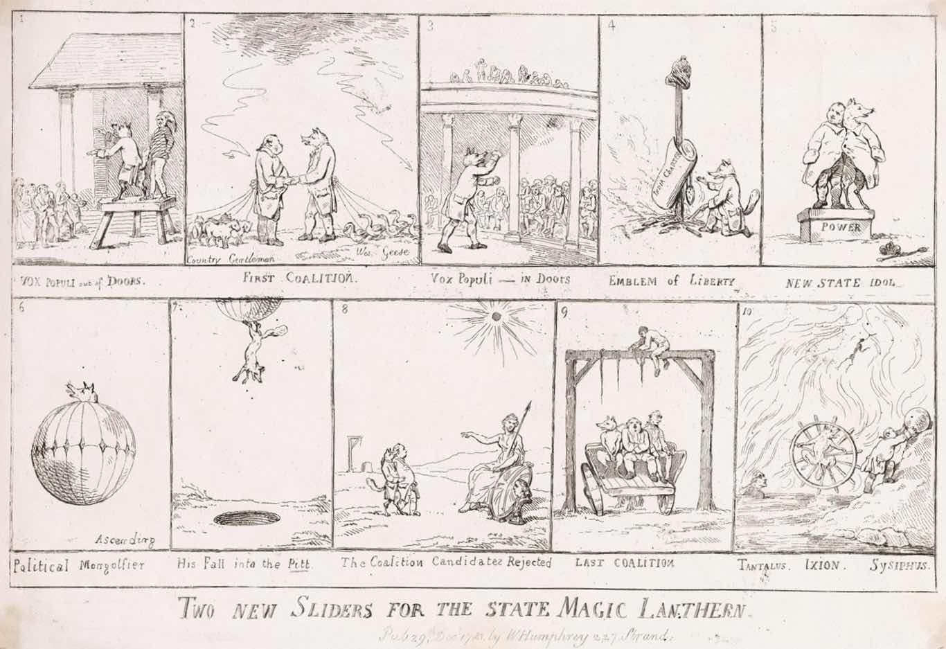 « Two New Sliders for the State Magic Lanthern » par Thomas Rowlandson.