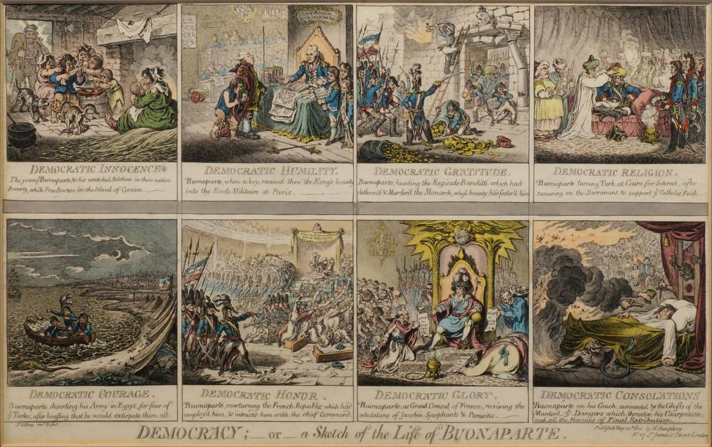 «  Democracy, or A Sketch of the Life of Buonaparte » par James Gillray.
