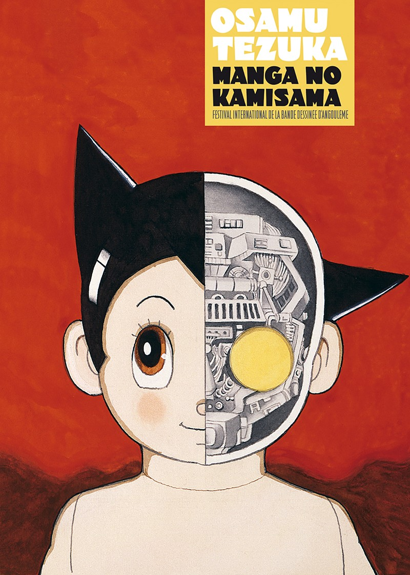 Couverture du catalogue de 160 pages reprenant les visuels de l'exposition « Manga no Kamisama » disponible à la boutique du festival et ultérieurement à celle du musée de la Bande Dessinée.