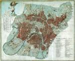 Plan de Moscou en 1812 et détail des zones incendiées (en rouge)