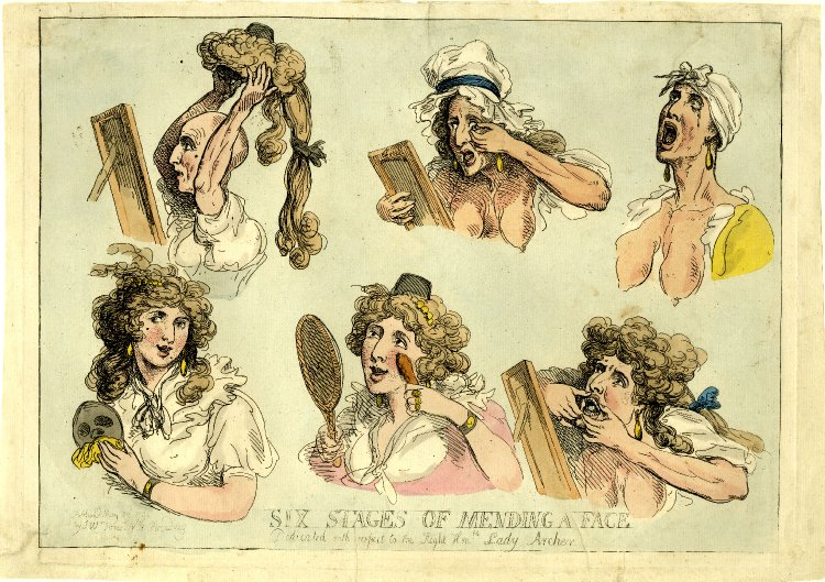 « Six Stages of Mending a Face » par Thomas Rowlandson.