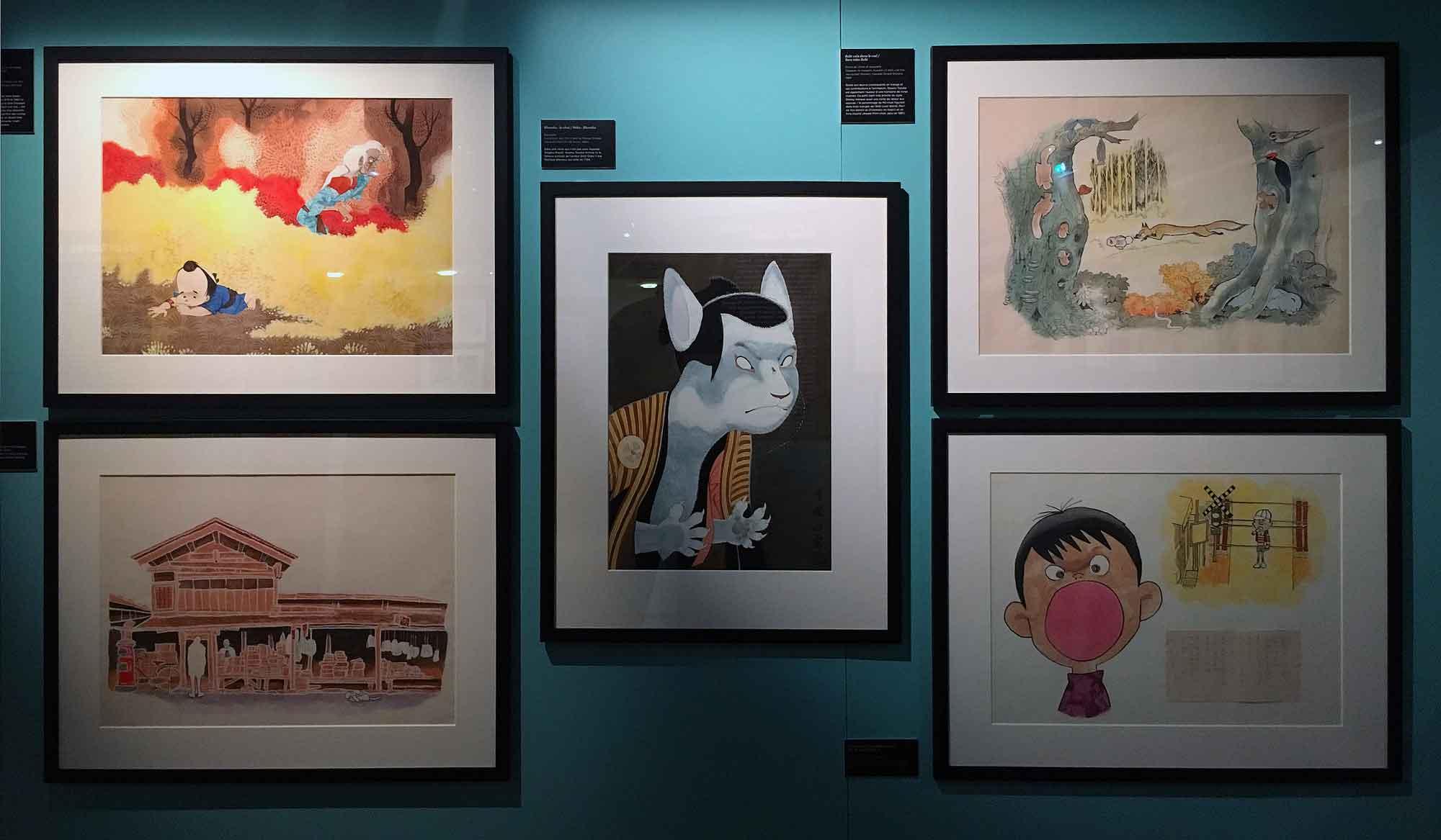 Divers travaux d'illustrations couleur sont également accrochés dans cette rétrospective. Le public découvre ainsi les multiples facettes de cette auteure qui a su se perfectionner, évoluer et surtout rechercher de nouveau mode d'expression visuel tout au long de sa carrière.
