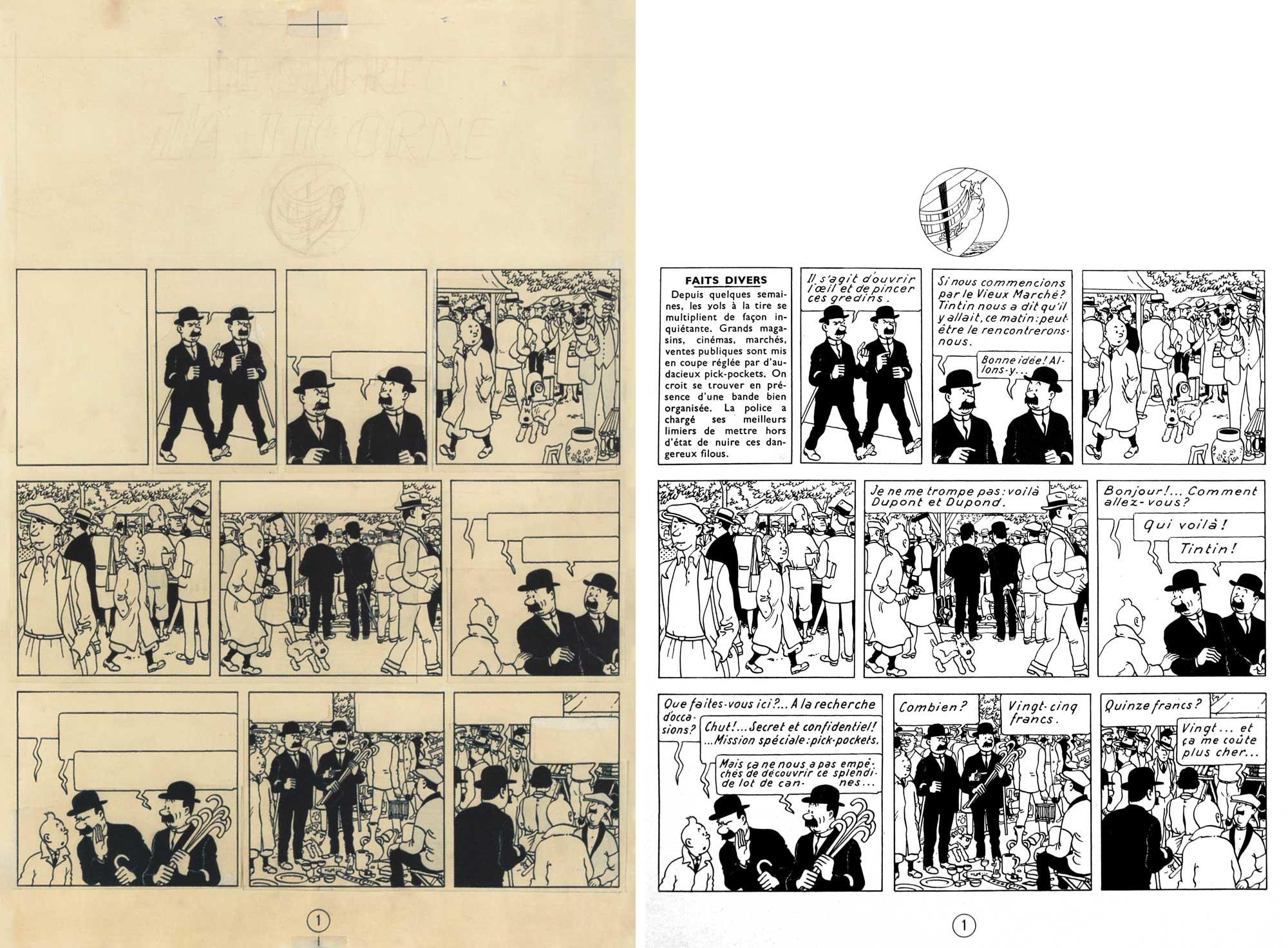 La page 1 réalisée par report et montage des strips parus dans Le Soir jeunesse et son équivalent imprimé en noir sur l'édition alternée.