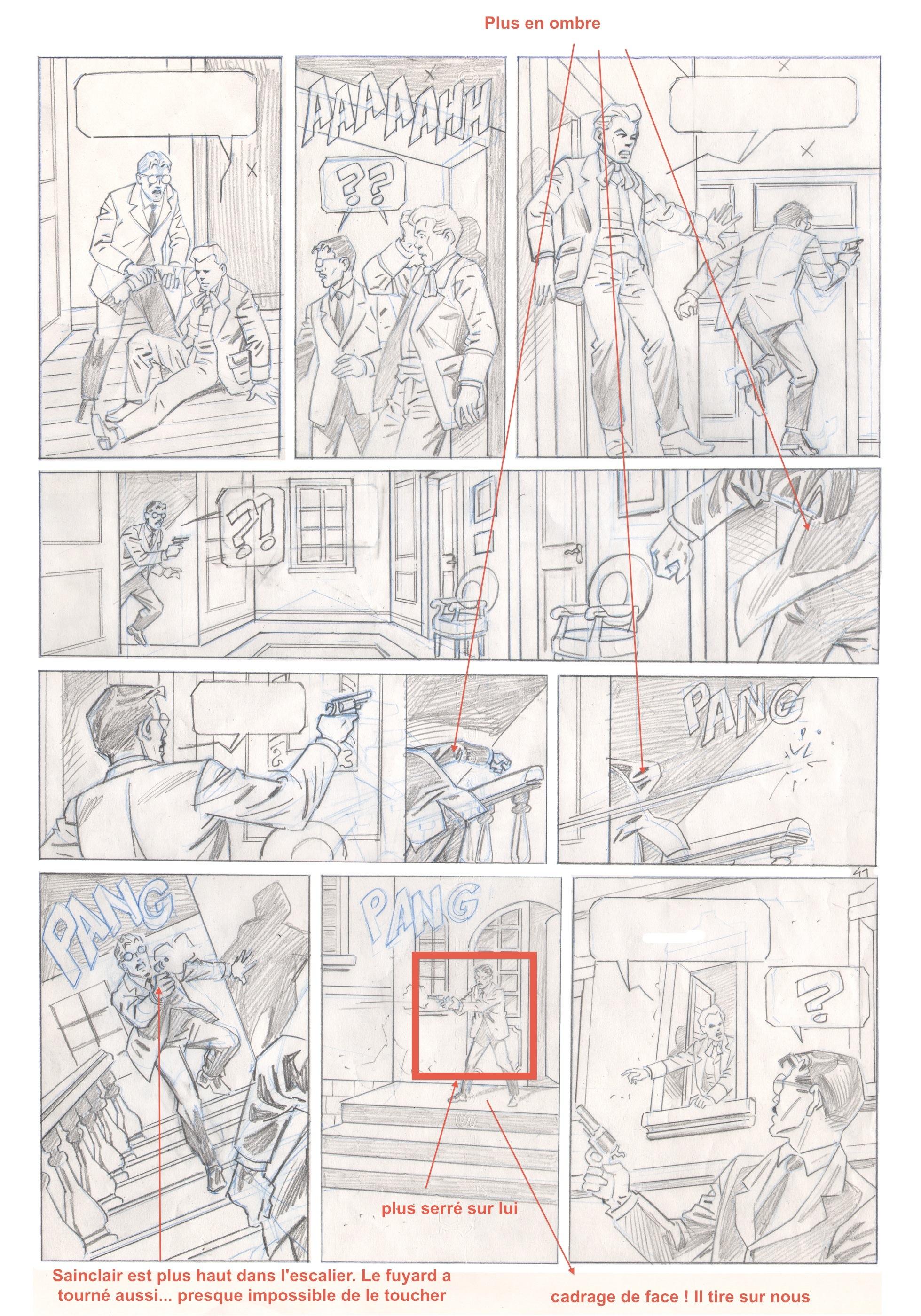 4 étapes de travail pour la planche 41 : storyboard, crayonné, encrage et mise en couleurs