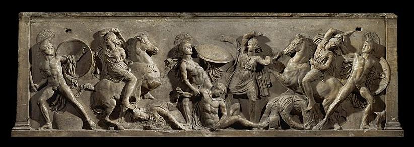 Sarcophage présentant un combat entre des Grecs et des Amazones (Vienne - Kunsthistorisches Museum)