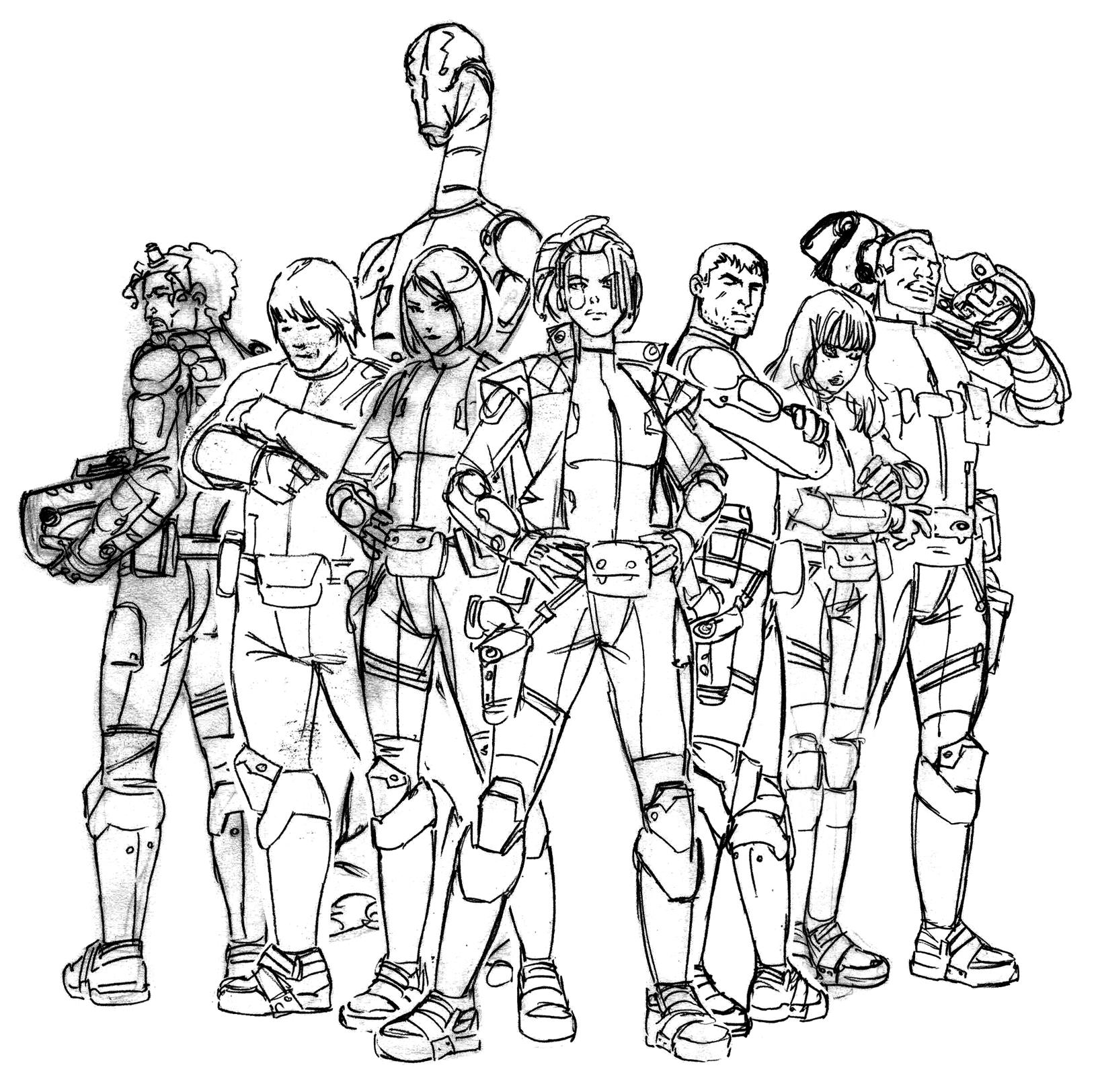 Les personnages en 4e de couverture