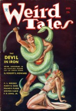 Couverture de Weird Tales (août 1934). Illustration de Margaret Brundage pour la nouvelle Le Diable d'airain
