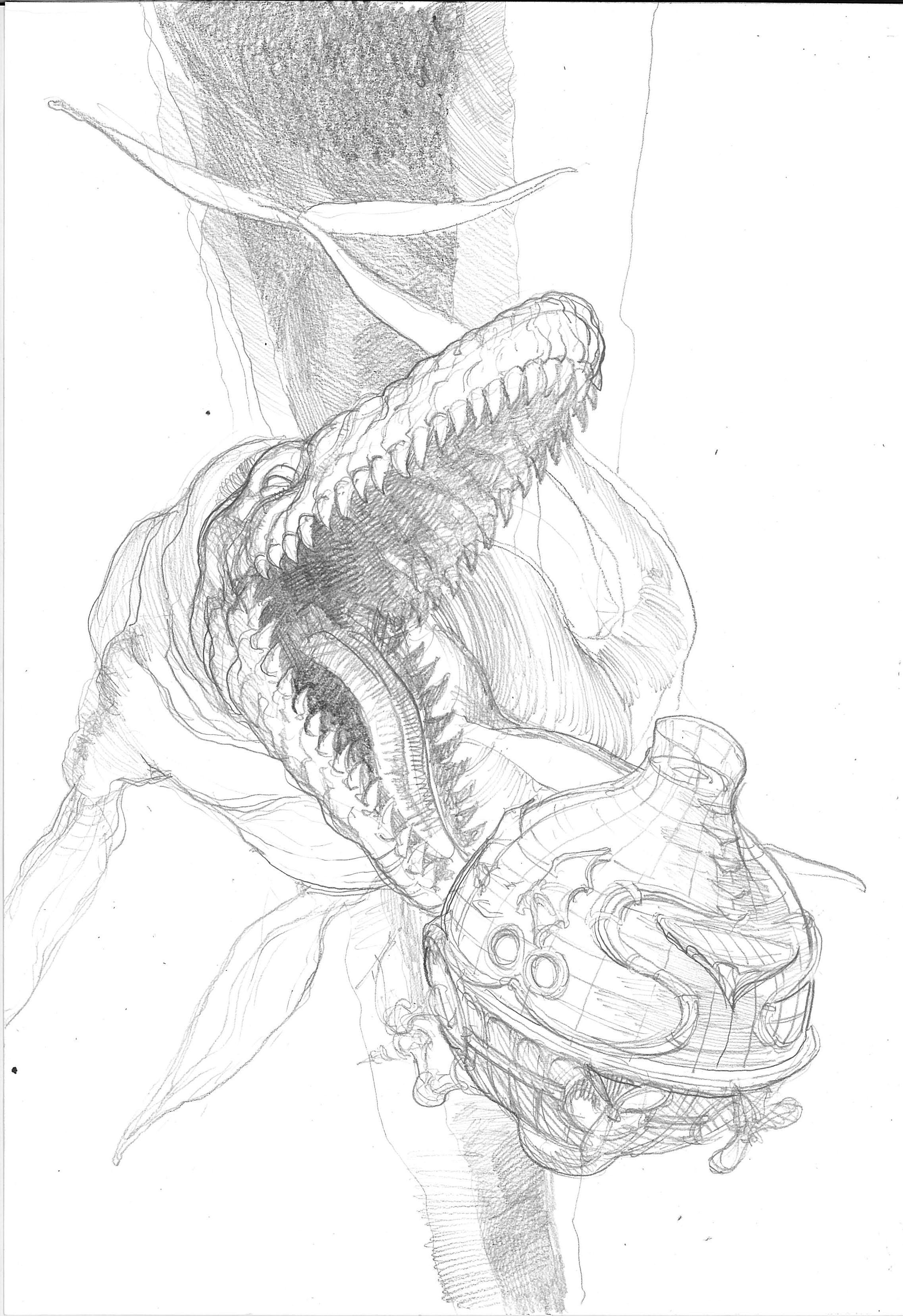 Le combat contre le mosasaure : dessins conceptuels et planche issue du tome 2