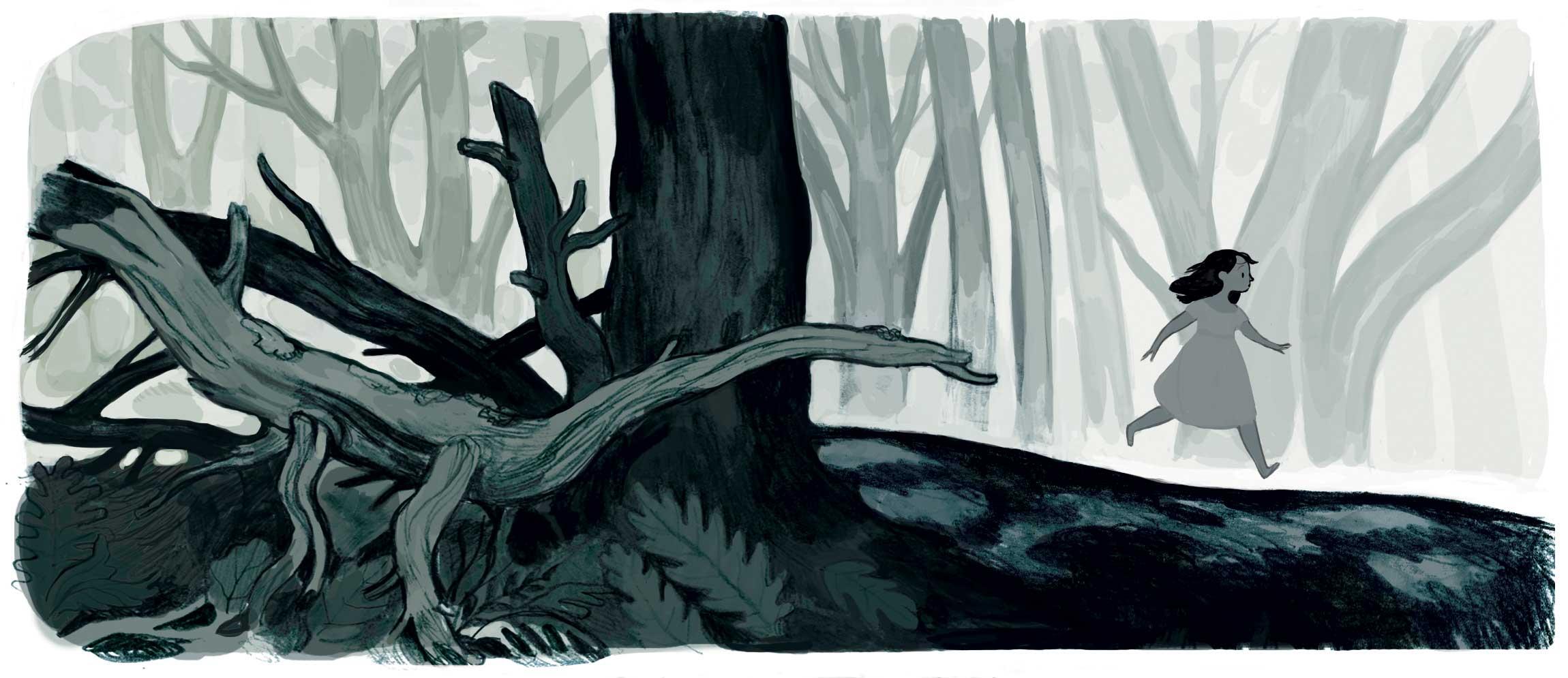 Calpurnia court dans la forêt