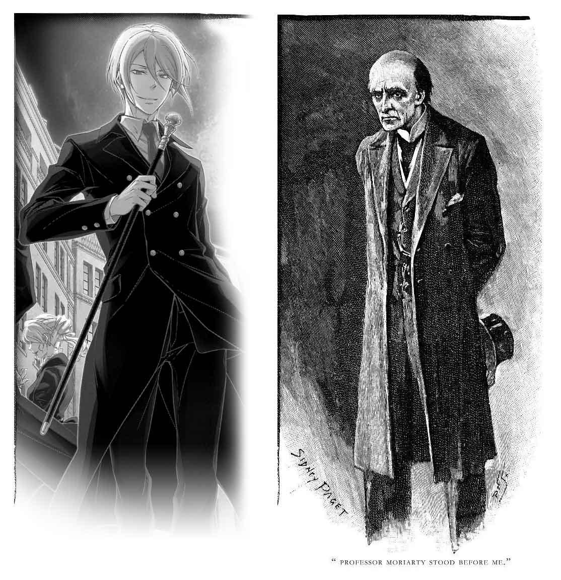 Moriarty jeune vu par Hikaru Miyoshi dans cette adaptation en manga et la vision que nous avons tous en tête du même personnage vu par Sidney Paget qui a illustré la nouvelle  «Le Dernier Problème» publiée en décembre 1893 dans The Strand Magazine.