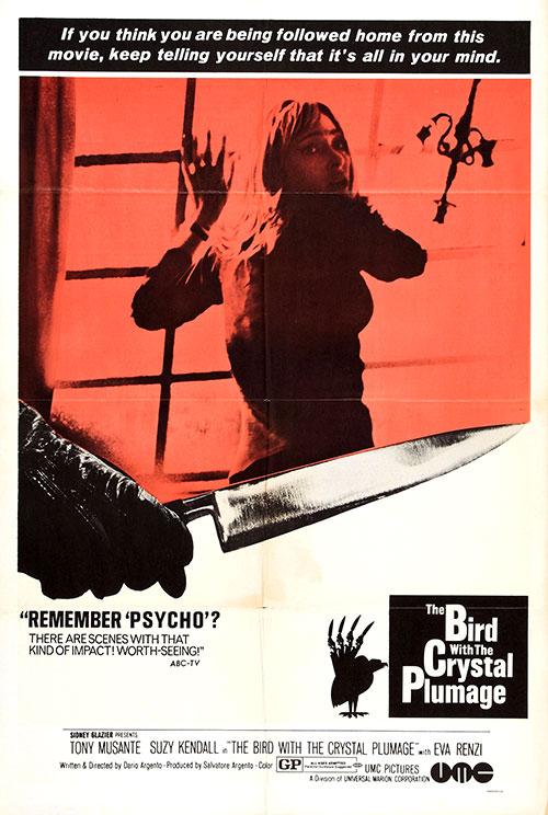"""Un hommage à Psychose : affiche pour """"L'Oiseau au plumage de cristal"""" (Argento, 1970)"""