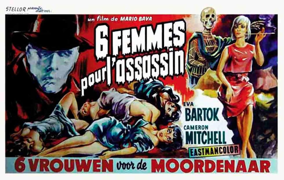 """Affiche française pour """"Six femmes pour l'assassin"""" (Mario Bava, 1964)"""