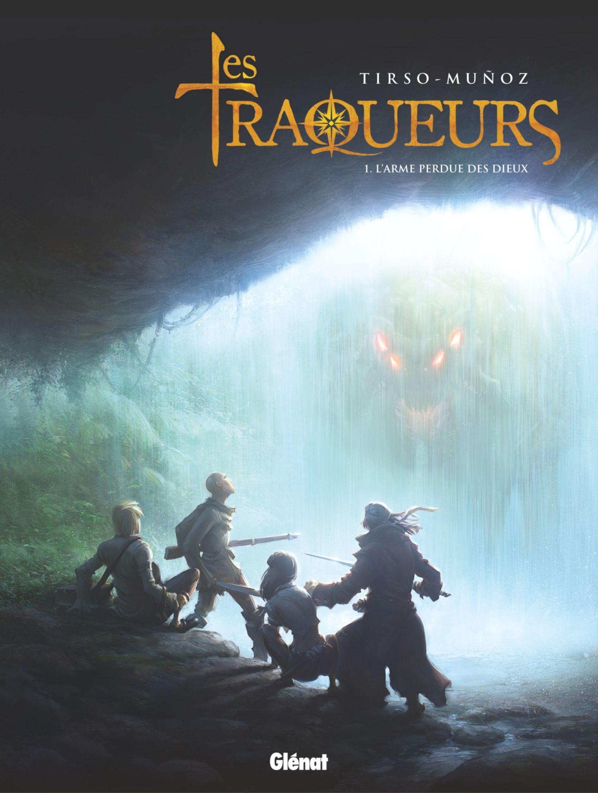 Traqueurs T1 (couverture et pages 9 et 15) : le héros et la créature (Glénat 2017)