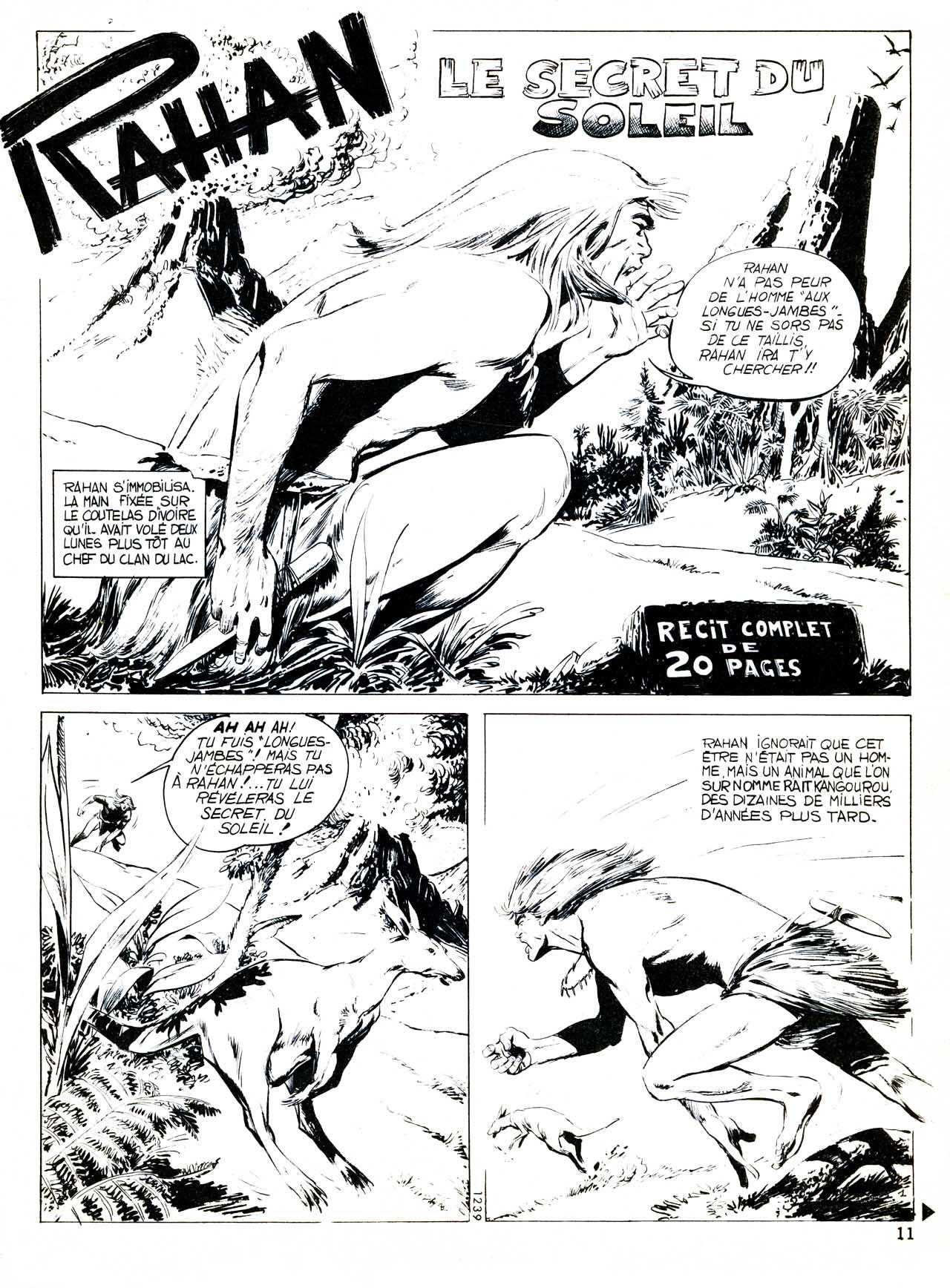 Rahan et le secret du soleil, dans Pif Gadget n° 1 (Vaillant, mars 1969 - planche 1)