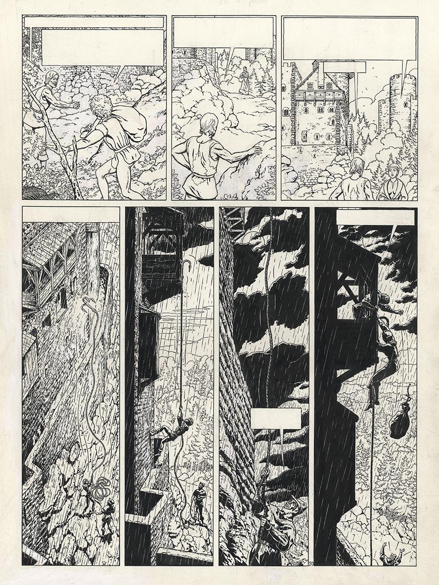 Encrage de la planche 20 (encre de Chine - 48,5 x 36,5 cm) et planche publiée