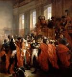 Orangerie du parc de Saint-Cloud, coup d'État des 18-19 brumaire an VIII. Le général Bonaparte au Conseil des Cinq-Cents, à Saint-Cloud (tableau de François Bouchot, 1840, château de Versailles)