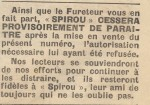 L'avis d'interdiction paru dans Spirou n° 35 en septembre 1943