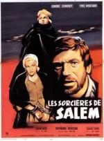 """Affiche du film """"Les Sorcières de Salem"""" (Raymond Rouleau, 1956) avec Simone Signoret, Yves Montand et Mylène Demongeot, adaptant la pièce d'Arthur Miller."""