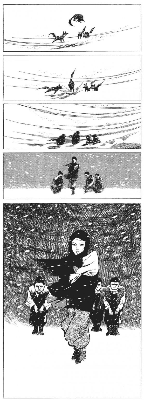 Une construction extrêmement intéressante de deux planches de Kamimura avec fondu enchaîné utilisant la tempête de neige pour transformer les loups mangeurs d'enfants en un groupe d'humains venant de donner la vie. Une mise en scène cinématographique déjà utilisée par Tezuka et qui sera également reprise par Otomo pour ne citer que deux noms très connus en France.