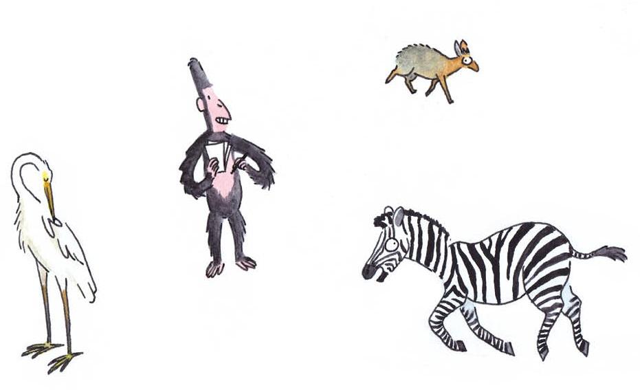 François-Xavier et des animaux de la savane