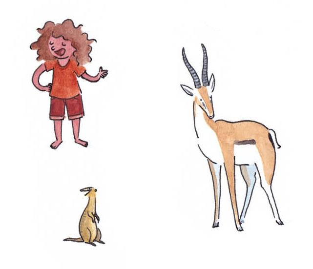 Jeanne et des animaux de la savane