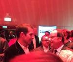 """François Hollande et Jul, lors du lancement du """"Cow-boy à Paris"""", le 25 octobre 2018, à la Tour Eiffel (copyright Laurent Turpin)"""
