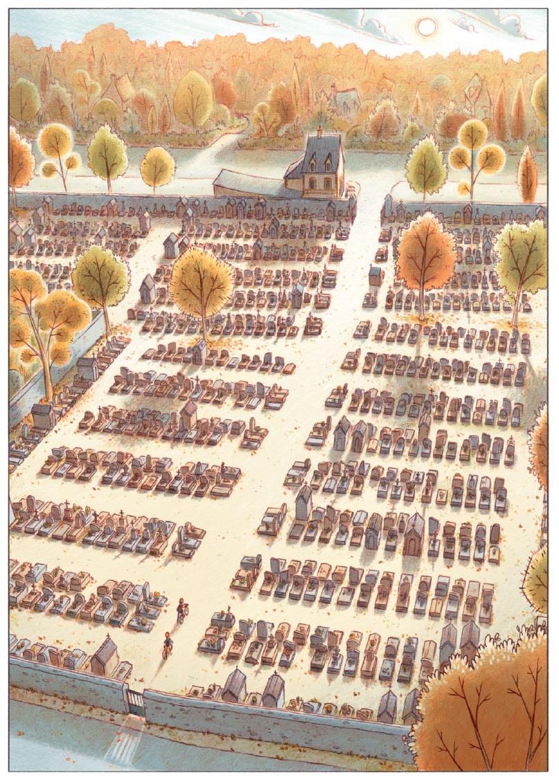 Les Croques T1 page 10, le cimetière et la maison des jumeaux