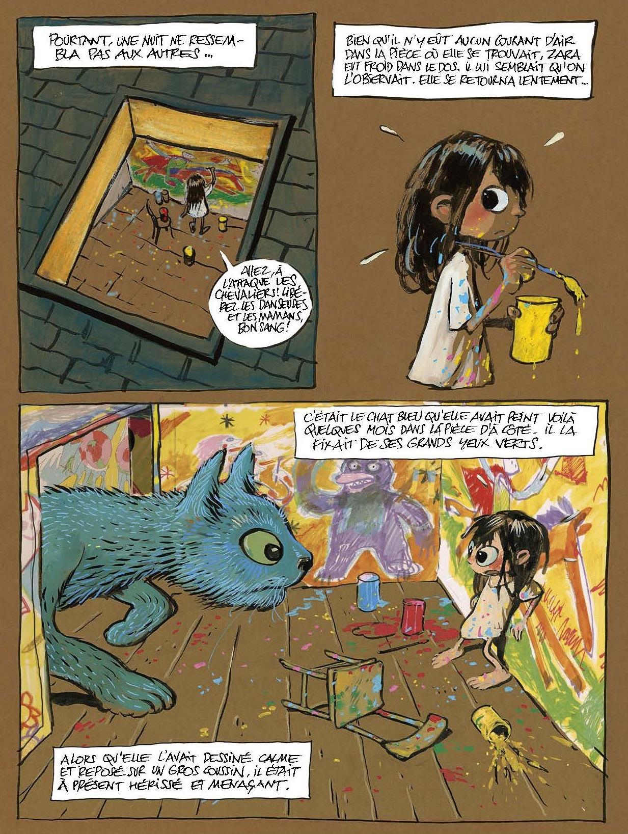 Le chat bleu sort du dessin de Zara
