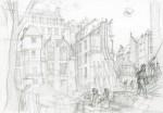 Crayonné pour Sambre T7 : Fleur de pavé (détail de la planche 51 ; 30 x 40 cm - 2016)