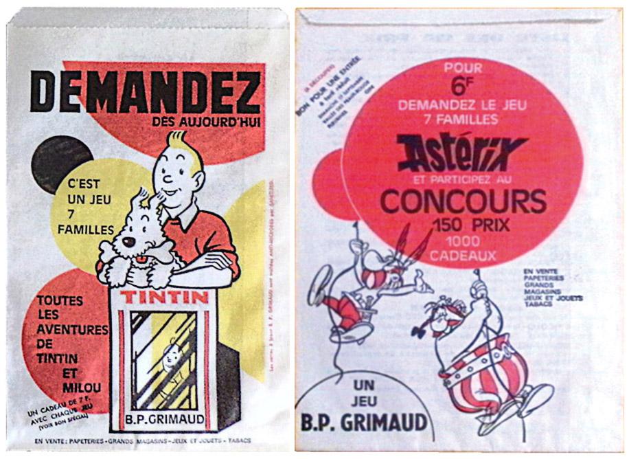 Difficile de reconnaître la main vivace de Hodges dans ces sachets publicitaires pour des jeux de 7 familles Tintin et Astérix édités par Grimaud...