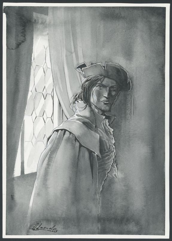 Dessin original pour le visuel du T1 : encre de Chine et lavis sur papier (20.0 cm x 28.7 cm)
