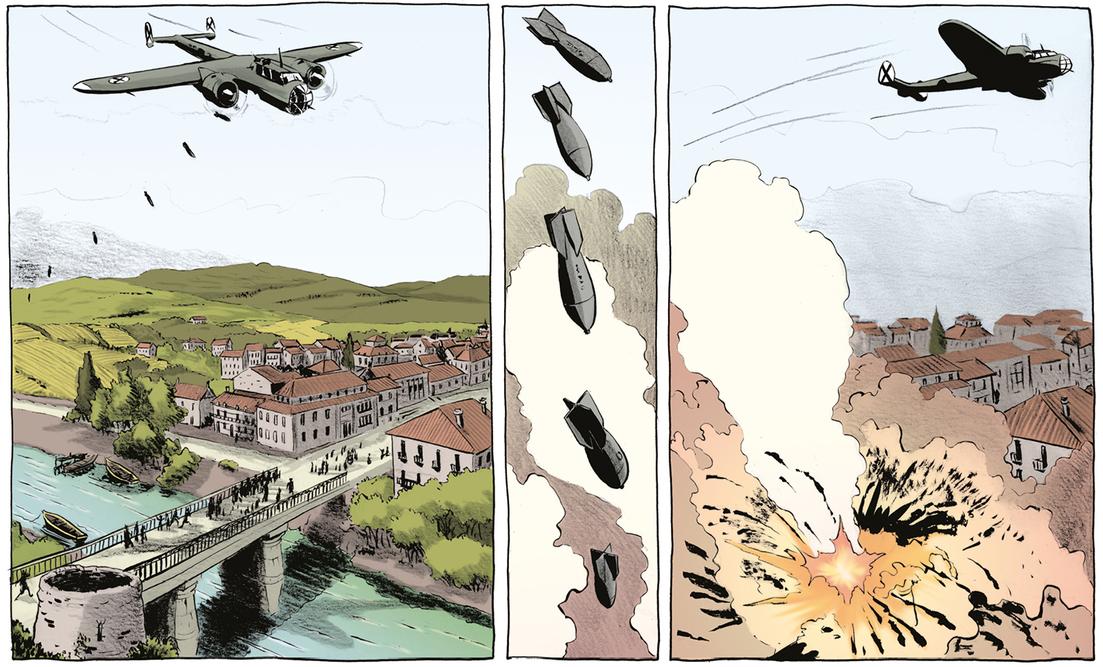 Guernica, ville martyre (planche 27 (2019) et photos des destructions)