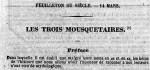 """Bandeau extrait du journal """"Le Siècle"""" daté du 14 mars 1844 et annonçant le début du feuilleton à ses lecteurs."""