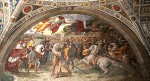 La rencontre entre le pape et Attila fut immortalisée en 1514 avec une fresque monumentale (7,50 mètres de longueur), conçue par Raphaël et réalisée avec son disciple Giulio Romano pour le Palais du Vatican.